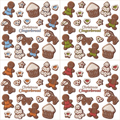 Group of vector colorful illustrations on the New Year theme; set of different kinds of multicolor Christmas gingerbread. Pictures contain realistic shadows and glare.
