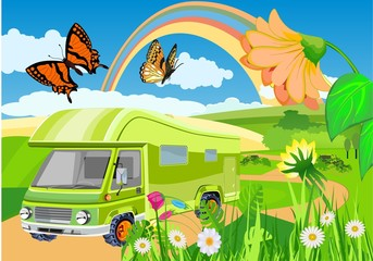 Summer time cartoon countryside landscape  illustration. Camper van, minibus , background with rainbow