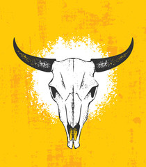 Cow Skull Wild West Rough Vector Illustration. Grunge Illustration On Wall Background.