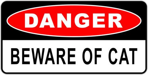 Road sign in USA: beware of the cat - naughty cat- guard cat