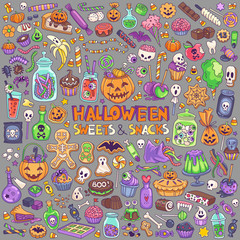 Halloween candies, sweets, snacks and drinks for trick-or-treating. Kids party menu hand drawn illustration.