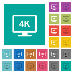 4K display square flat multi colored icons