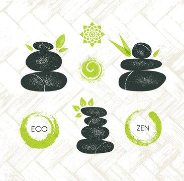 Spa Retreat Organic Eco Pebble Garden Zen Design Element. Wellness Spa Nature Friendly Vector Concept
