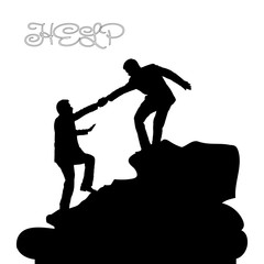 Silhouette of two people metaphor (help, support, friendship), on a mountain, hand in hand, on a white background,