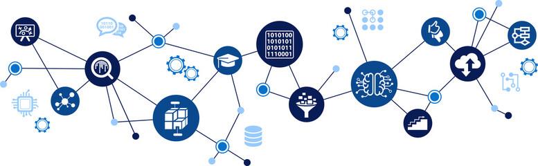 Obraz neural network / machine learning / deep learning / artificial intelligence - vector illustration - fototapety do salonu