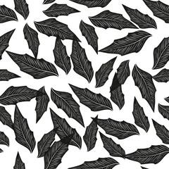 Leaves. Monochrome. Black silhouette on white background. Wallpa