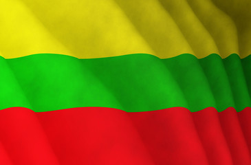 Illustration of a flying Lithuanian flag