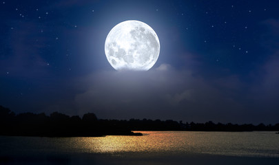 Full moon over the river