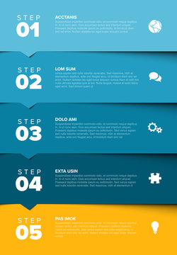 Vector progress five steps template