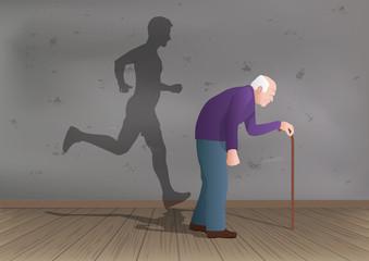 Un vieux monsieur se déplace à l'aide d'une canne et projète sur un mur une ombre d'un jeune homme qui court