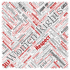 Vector conceptual women rights, equality, free-will square red word cloud isolated background. Collage of feminism, empowerment, opportunities, awareness, courage, education, respect concept
