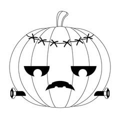 Isolated zombie halloween pumpkin icon. Vector illustration design