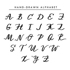 Hand written vector alphabet, cursive capital letters for logo and your design. Initial monogram letters isolated on white for wedding emblems and logo.