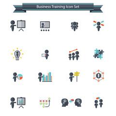 Training. Business training icon set. Vector illustration.
