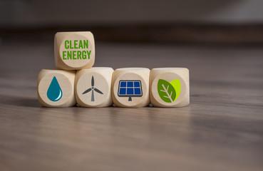 Würfel mit erneuerbare Energie Clean Energy