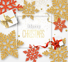 Merry Christmas card with beautiful snowflakes and gifts.