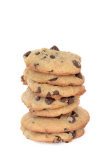 Foto op Plexiglas Koekjes chocolate chip cookies stacked isolated white background