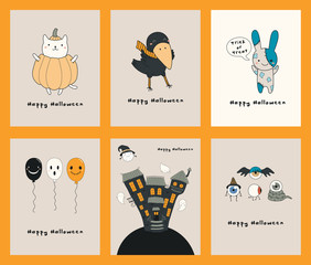 Set of Halloween greeting cards with kawaii funny characters, text, haunted house, ghosts, balloons. Hand drawn vector illustration. Line drawing. Design concept for kids print, party invitation.