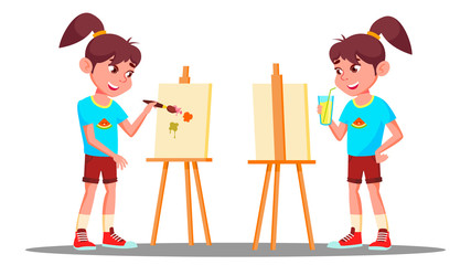 Little Girl Drawing On The Easel With Colored Paints Vector. Artist. Isolated Illustration