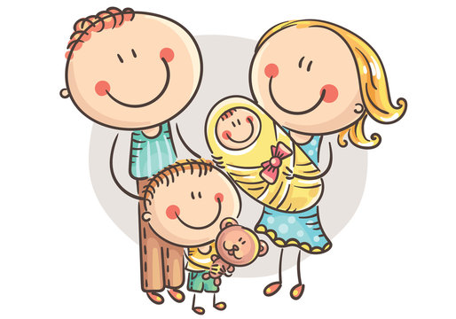 Happy family with two children, cartoon graphics