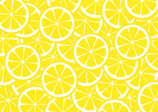 Bright lemon slices vector background. Summer bright tropical fruit pattern.