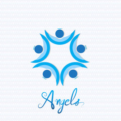 Christmas angel teamwork people logo