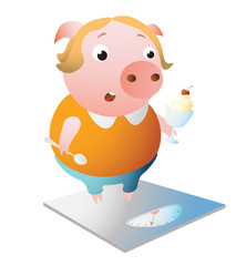 Libra. Zodiac symbol. Surprised piggy standing on scales. Chinese horoscope symbol 2019. Isolated on transparent background. Excellent for the design of postcards, posters, stickers etc.