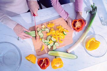 Cutting fresh vegetables. Careful young person holding sharp knife and cutting cucumbers while younger girl helping with peppers