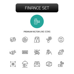 Finance icons. Set of  line icons. Currency exchange, cryptocurrency, finance idea. Banking concept. Vector illustration can be used for topics like business, money