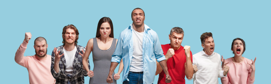 Composition with angry people. Aggressive men and women standing isolated on trendy blue studio background. half-length portrait. Human emotions, facial expression concept. Collage
