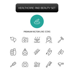 Healthcare and beauty icons. Set of line icons. Woman, cosmetics, hairdressing. Healthcare and beauty concept. Vector illustration can be used for topics like eye sight, make up, beauty salon.