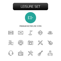 Leisure icons. Set of line icons. Swimming pool, camera, paints. Entertainment concept. Vector illustration can be used for topics like hobby, activity, easy time.