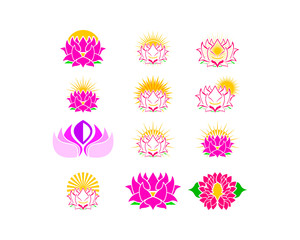 Set of Beauty Vector Lotus flowers design logo Template icon