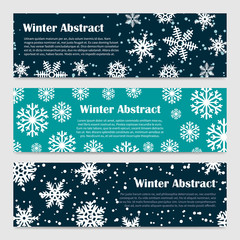 Winter banners of set vector templates with snowfall and snowflakes illustration
