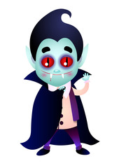 Dracula with bloody fang waving hand and covering body with cape. Smiling, waving hand, cartoon. Halloween concept. Can be used for greeting cards, posters, leaflets and brochure