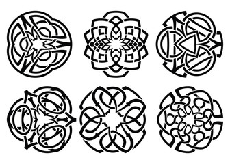 Vector ornament, decorative Celtic knots and curls set.