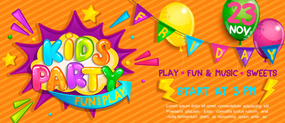 Wide Super Banner for kids party in cartoon style.