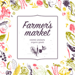 Vector farmers market banner with frame - hand drawn sketch raw vegetables isolated on white background. Good for farmers market & food fair banners and advertisements, menu, packaging, price tags etc