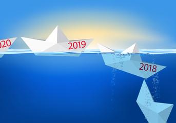 Carte de vœux 2019 montrant des bateaux de papier en origami se succèdes et coulent pour symboliser l'année qui s'achève