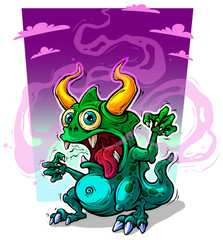 Cartoon funny green monster with horns