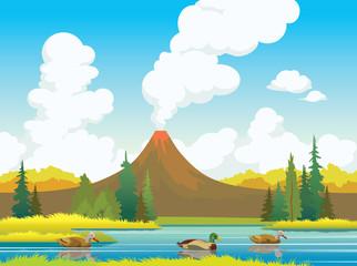 Autumn landscape - ducks, volcanos, forest, lake