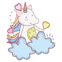 Unicorn in clouds cartoon