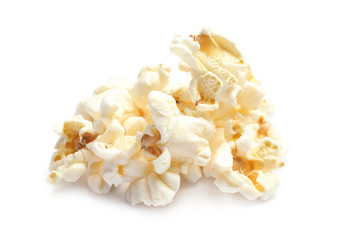 Pile of delicious fresh popcorn on white background