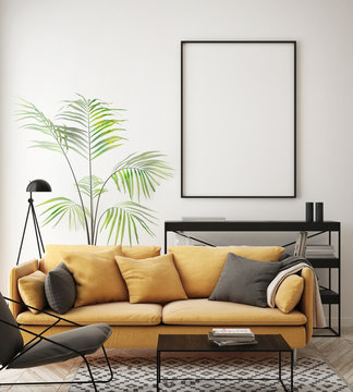 mock up poster frame in hipster interior background, living room, Scandinavian style, 3D render, 3D illustration