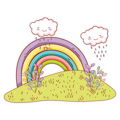 Cute landscae with rainbow drawings