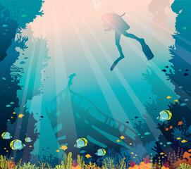 Scuba diver, sunken ship, coral reef - underwater sea