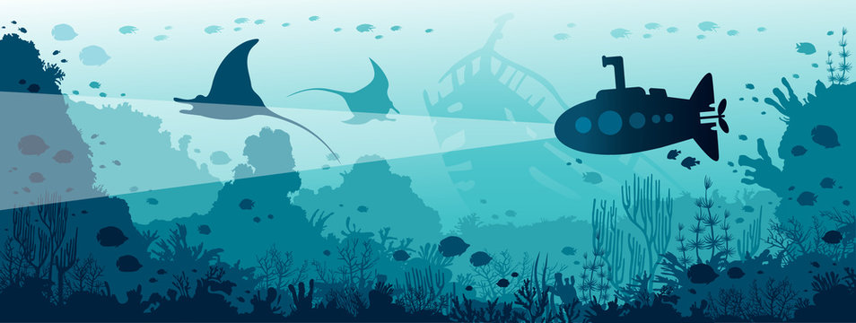 Underwater sea life - mantas, coral reef, fishes, submarine.