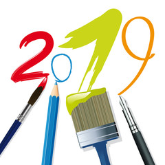 Carte de vœux 2019 sous le signe de la créativité décorative, artistique et littéraire