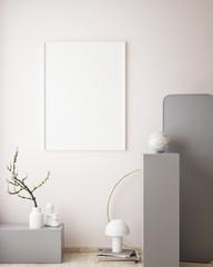 mock up poster frame in geometric interior background, pastel colors, 3D render, 3D illustration