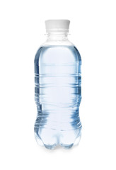 Bottle of drinking water on white background